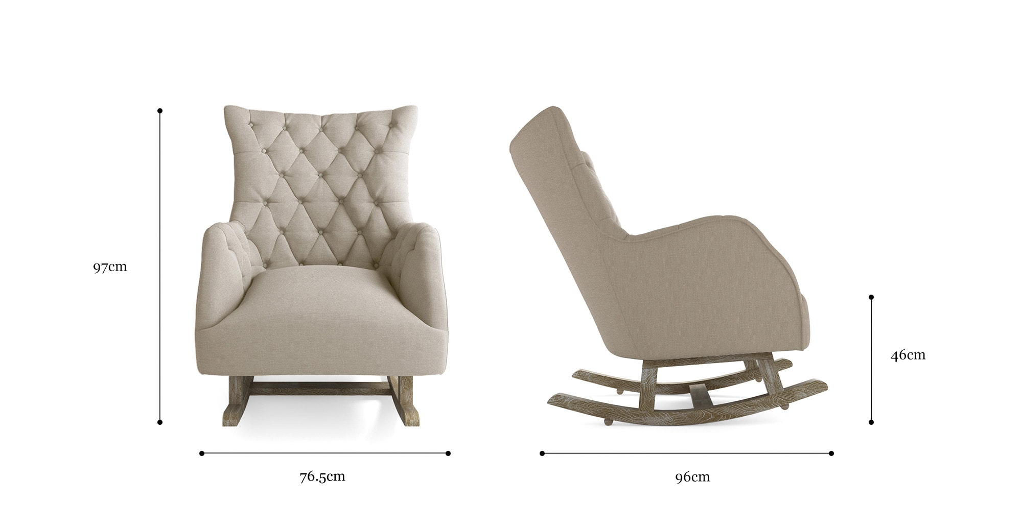 Betty Rocking Chair Pertaining To Rocking Chairs In Linen Fabric With Brushed Finish Base (#3 of 20)