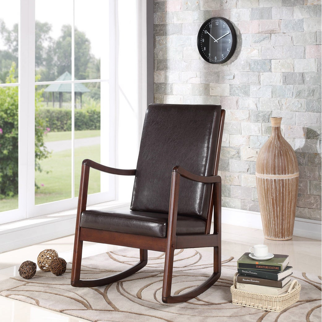 Bishop Contemporary Cushion Rocking Chair Within Poppy Mission Espresso Rocking Chairs (#1 of 20)