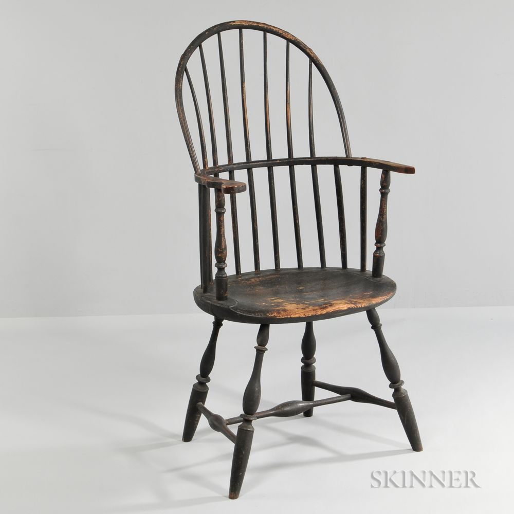 Black Painted Sack Back Windsor Chair, C. 1760  (#5 of 20)