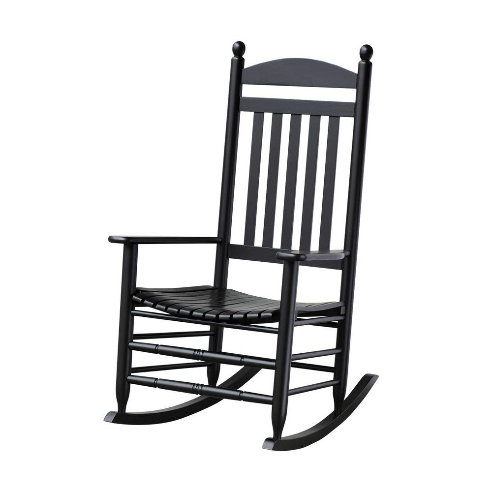 Bradley Black Slat Patio Rocking Chair Regarding Traditional Style Wooden Rocking Chairs With Contoured Seat, Black (#5 of 20)