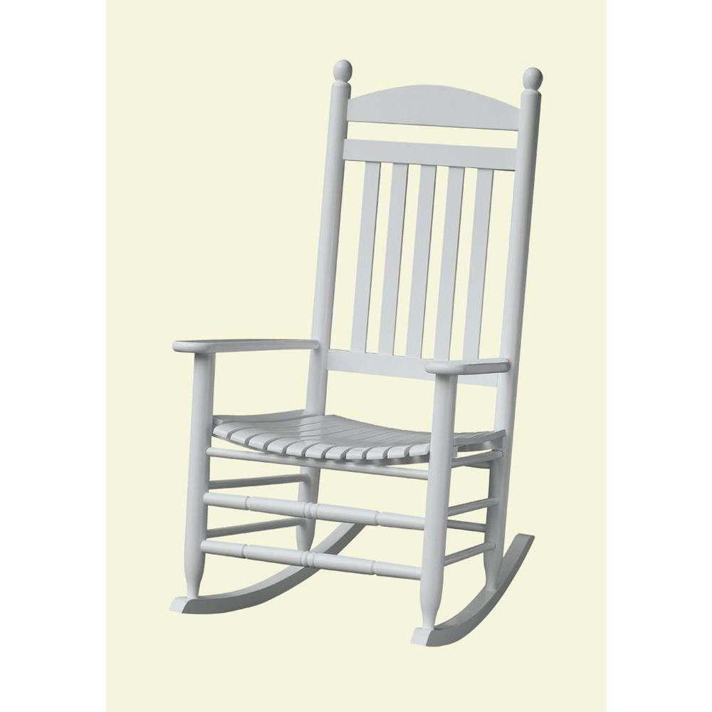 Bradley White Slat Patio Rocking Chair Intended For Rocking Chairs In Cream Fabric And White (#6 of 20)