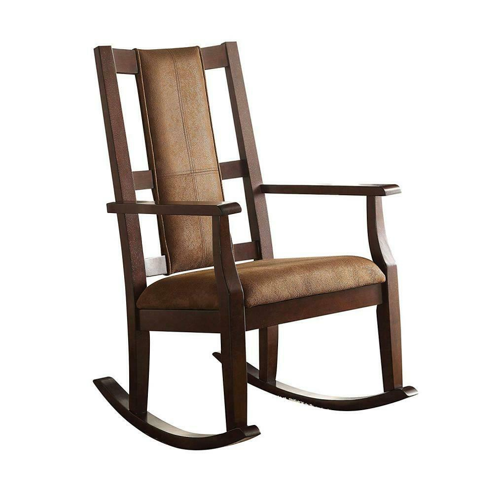 Brown Fabric Espresso Rocking Chair Seat Living Room Furniture Padded Seat  Porch Regarding Dark Oak Wooden Padded Faux Leather Rocking Chairs (#3 of 20)