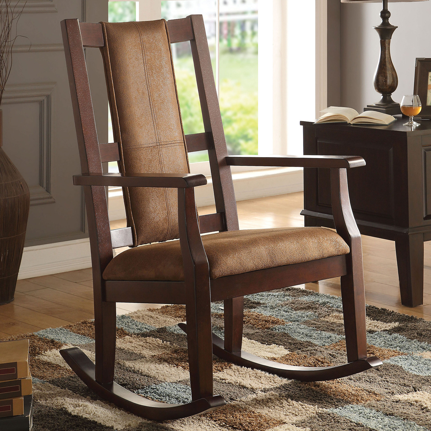 Butsea Rocking Chair In Brown Fabric & Espressoacme Pertaining To Espresso Brown Rocking Chairs (View 3 of 20)