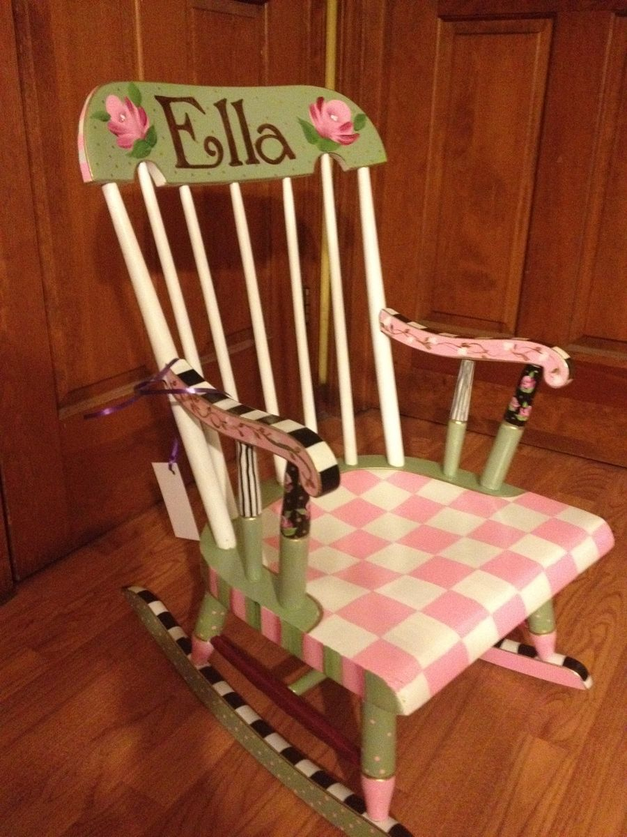 Buy Hand Made Painted Childs Rocking Chair Custom Colors And Pertaining To Brown Wood Youth Rocking Chairs (#5 of 20)