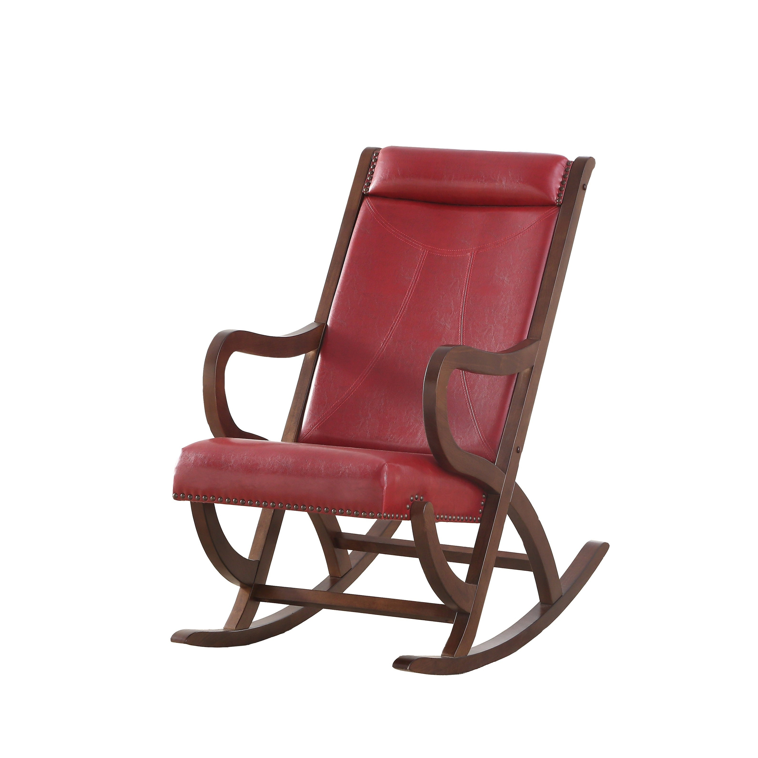 Carbon Loft Ariel Rocking Chair In Burgundy Pu And Walnut Throughout Liverpool Classic Style Rocking Chairs In Antique Oak Finish (#8 of 20)