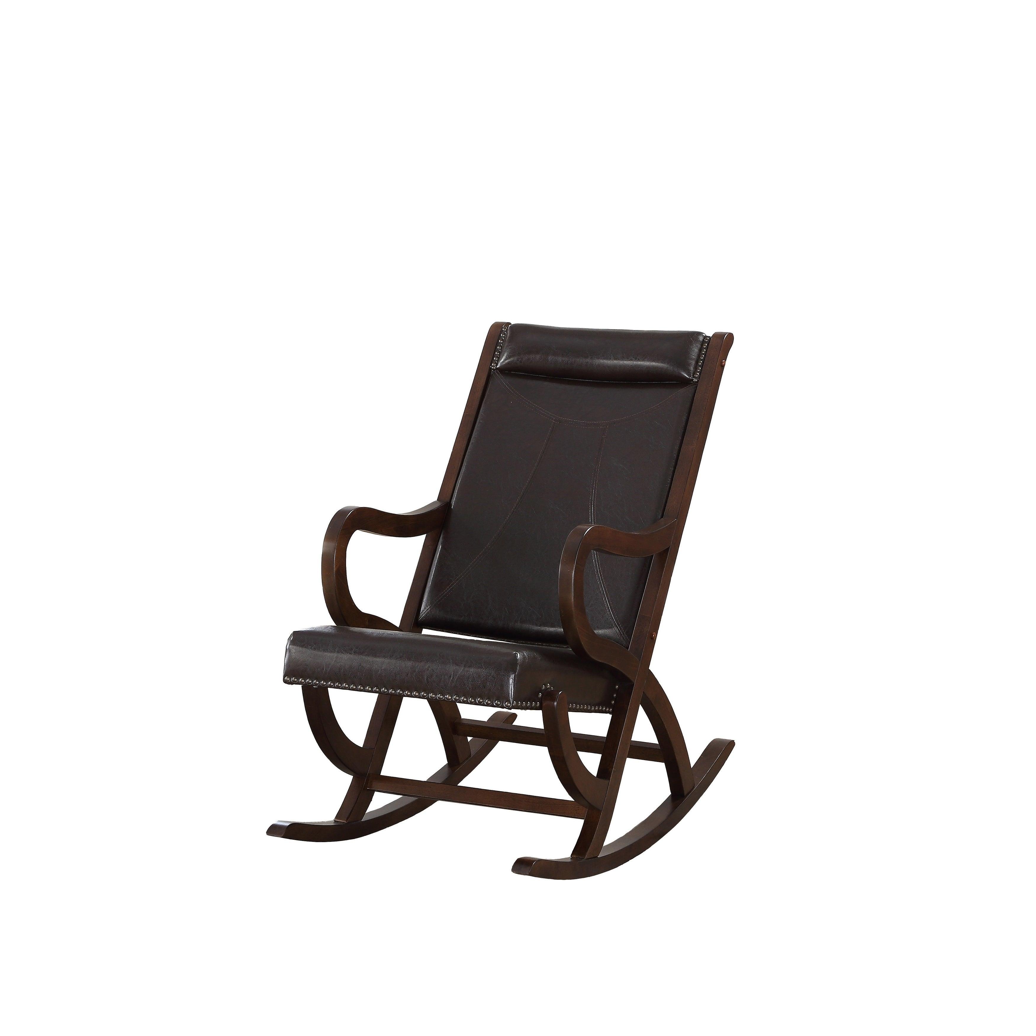 Carbon Loft Ariel Rocking Chair In Espresso Pu And Walnut Regarding Espresso Brown Rocking Chairs (View 8 of 20)