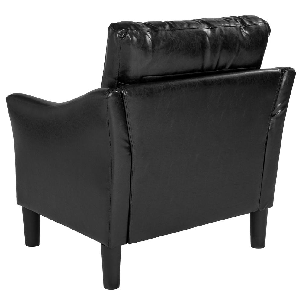 Carnegy Avenue Black Leather Arm Chair Cga Sl 231771 Bl Hd Throughout Faux Leather Upholstered Wooden Rocking Chairs With Looped Arms, Brown (View 3 of 20)