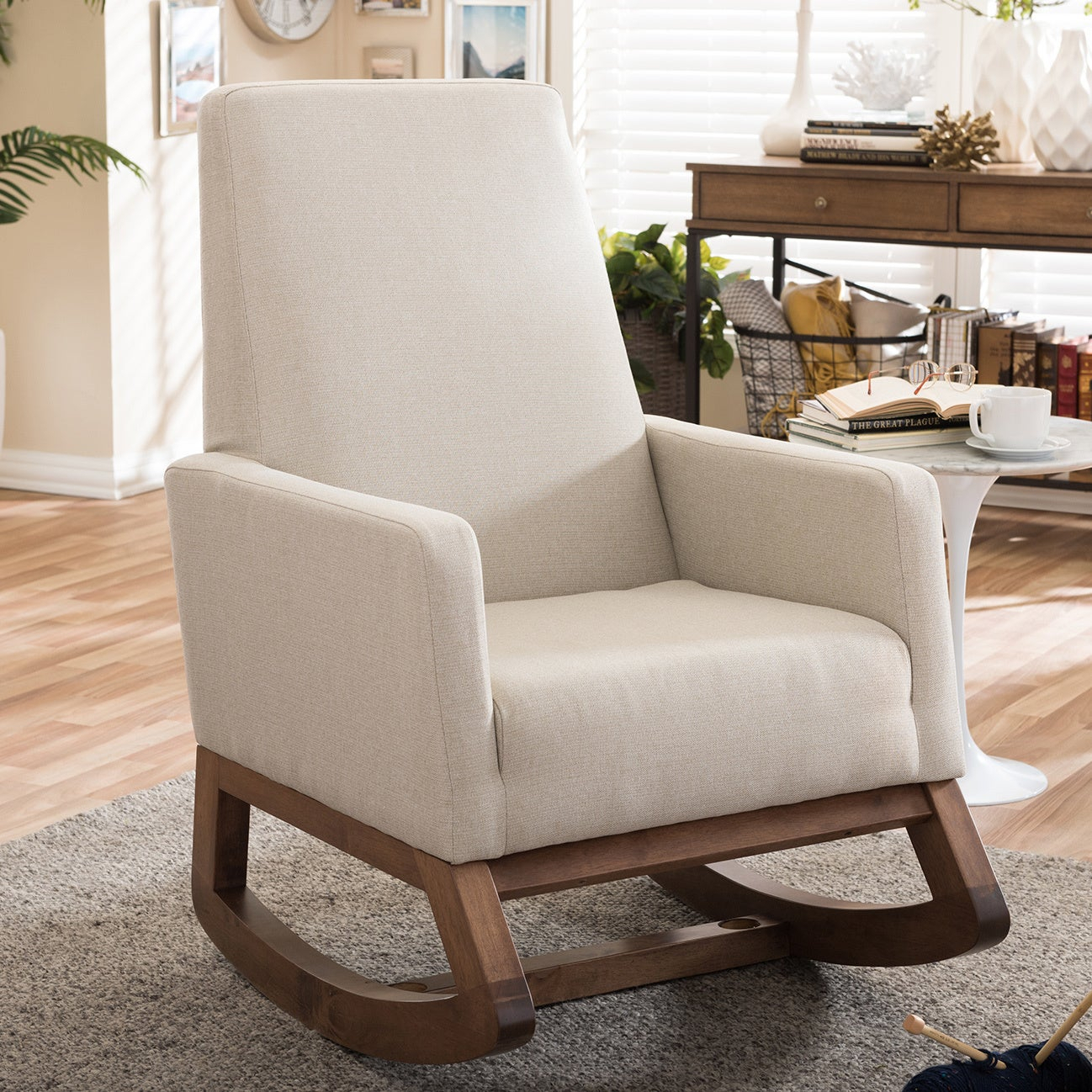 Carson Carrington Honningsvag Mid Century Modern Light Beige Upholstered  Rocking Chair With Regard To Padded Rocking Chairs (#4 of 20)
