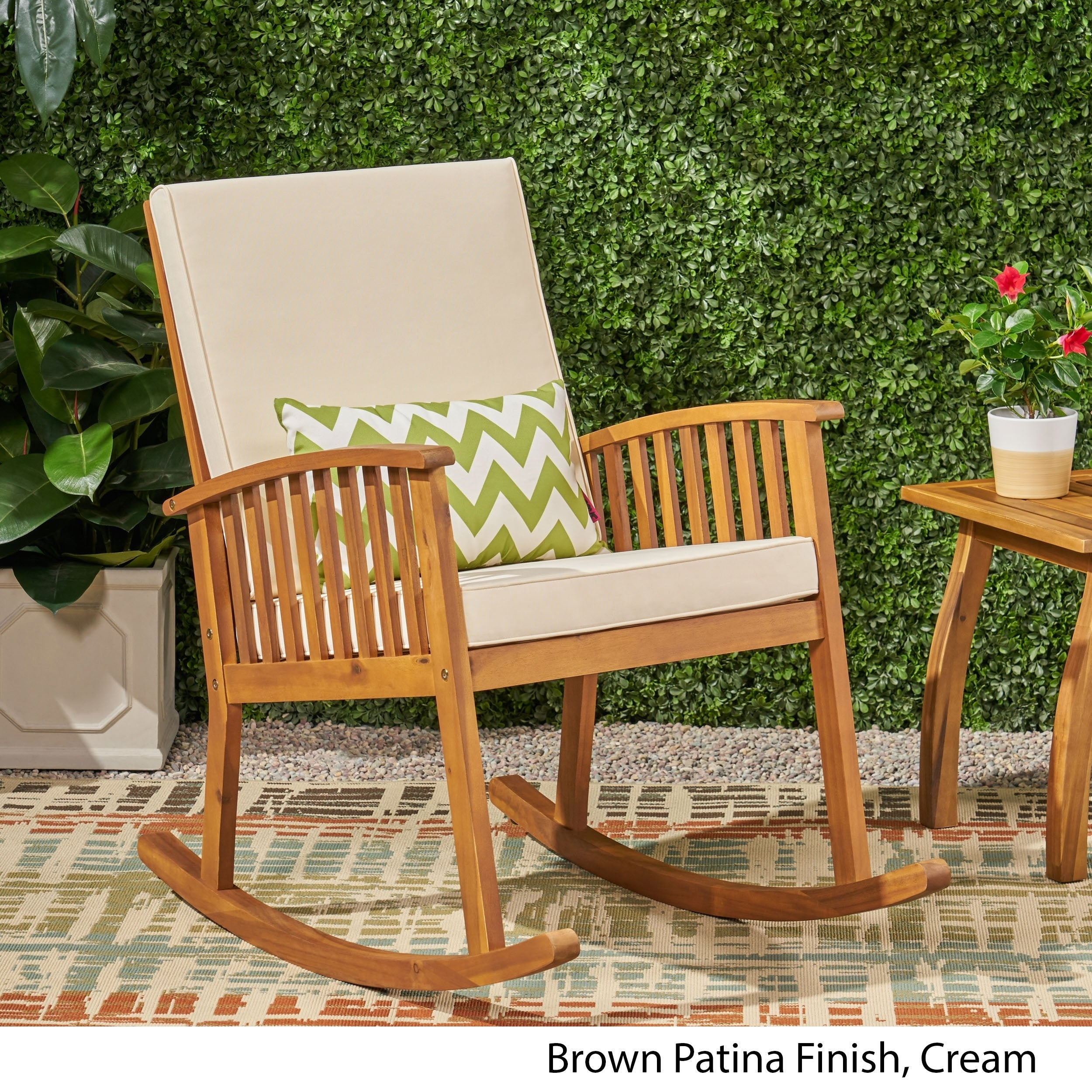 Casa Outdoor Acacia Wood Rocking Chairchristopher Knight Home In Rocking Chairs, Cream And Brown (#3 of 20)
