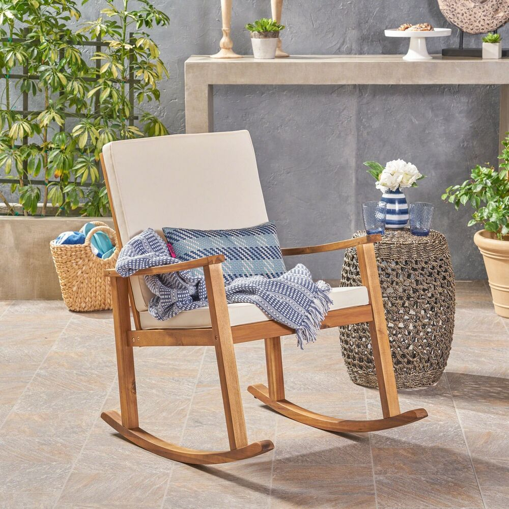 Caspar Outdoor Acacia Wood Rocking Chair | Ebay Within Traditional Indoor Acacia Wood Rocking Chairs With Cushions (#6 of 20)
