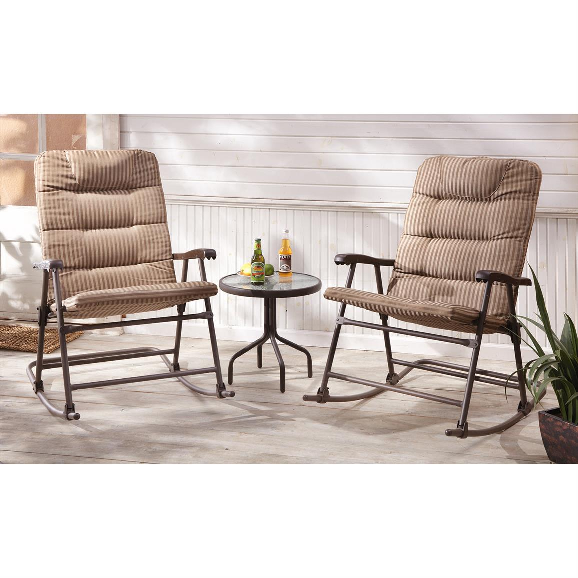 Castlecreek Padded Outdoor Rocking Chair Set, 3 Piece With Padded Rocking Chairs (#5 of 20)