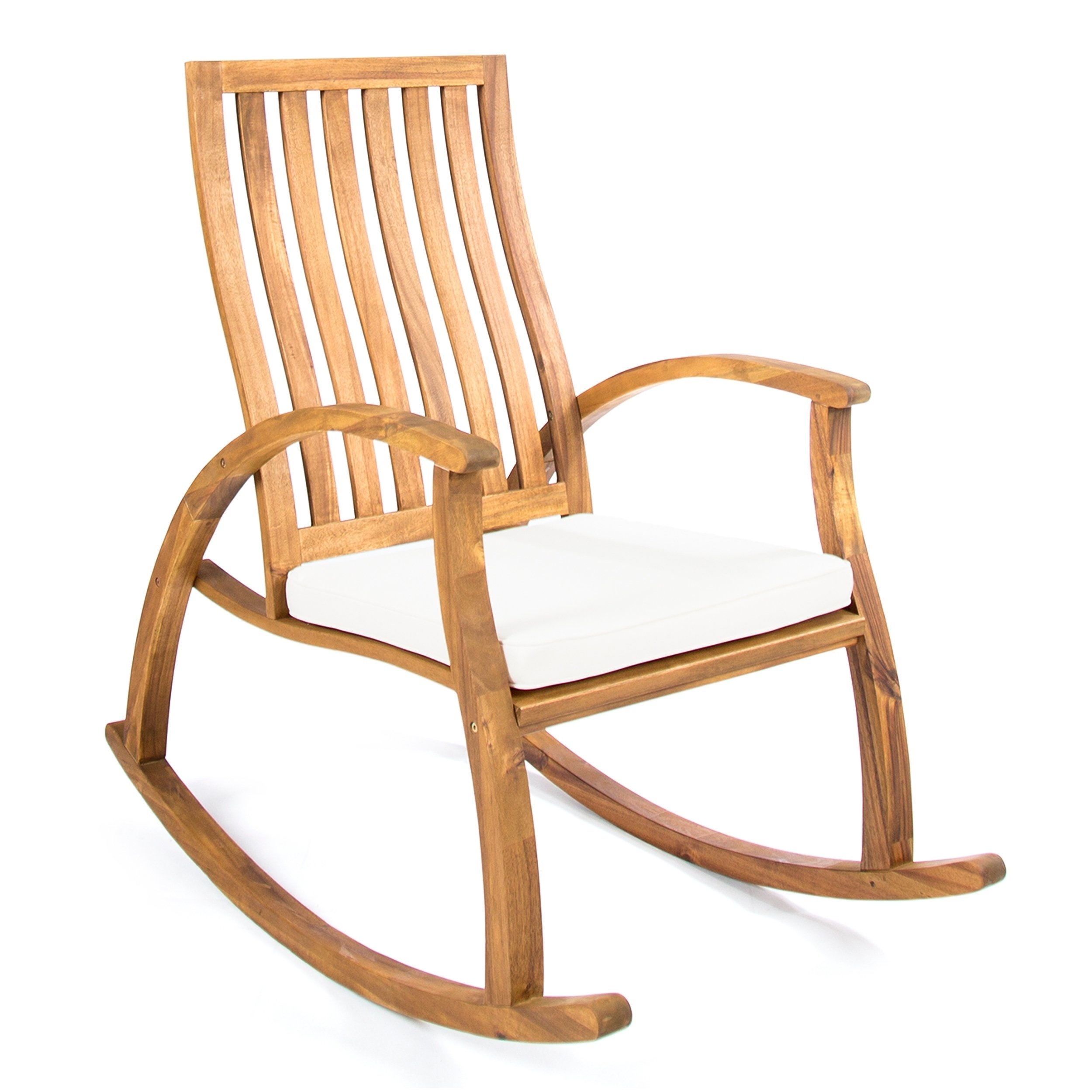Cayo Outdoor Acacia Wood Rocking Chair With Cushion Throughout Rocking Chairs, Cream And Brown (#4 of 20)