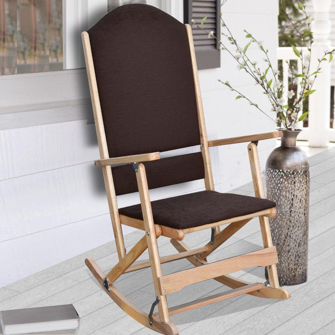 Cedar Creek Solid Wood Folding Rocking Chairs In Natural Brown Wood Folding Rocking Chairs (#8 of 20)
