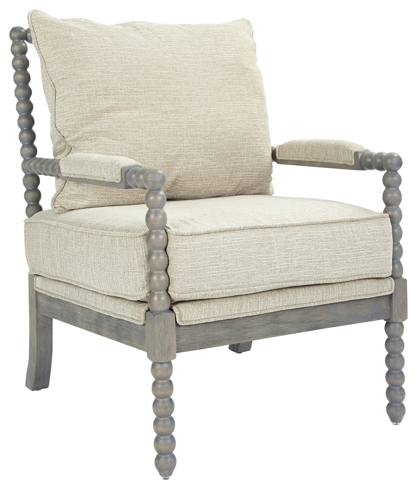 Chair, Azure Fabric With Brushed Gray Base, Linen Within Rocking Chairs In Linen Fabric With Medium Espresso Base (View 13 of 20)