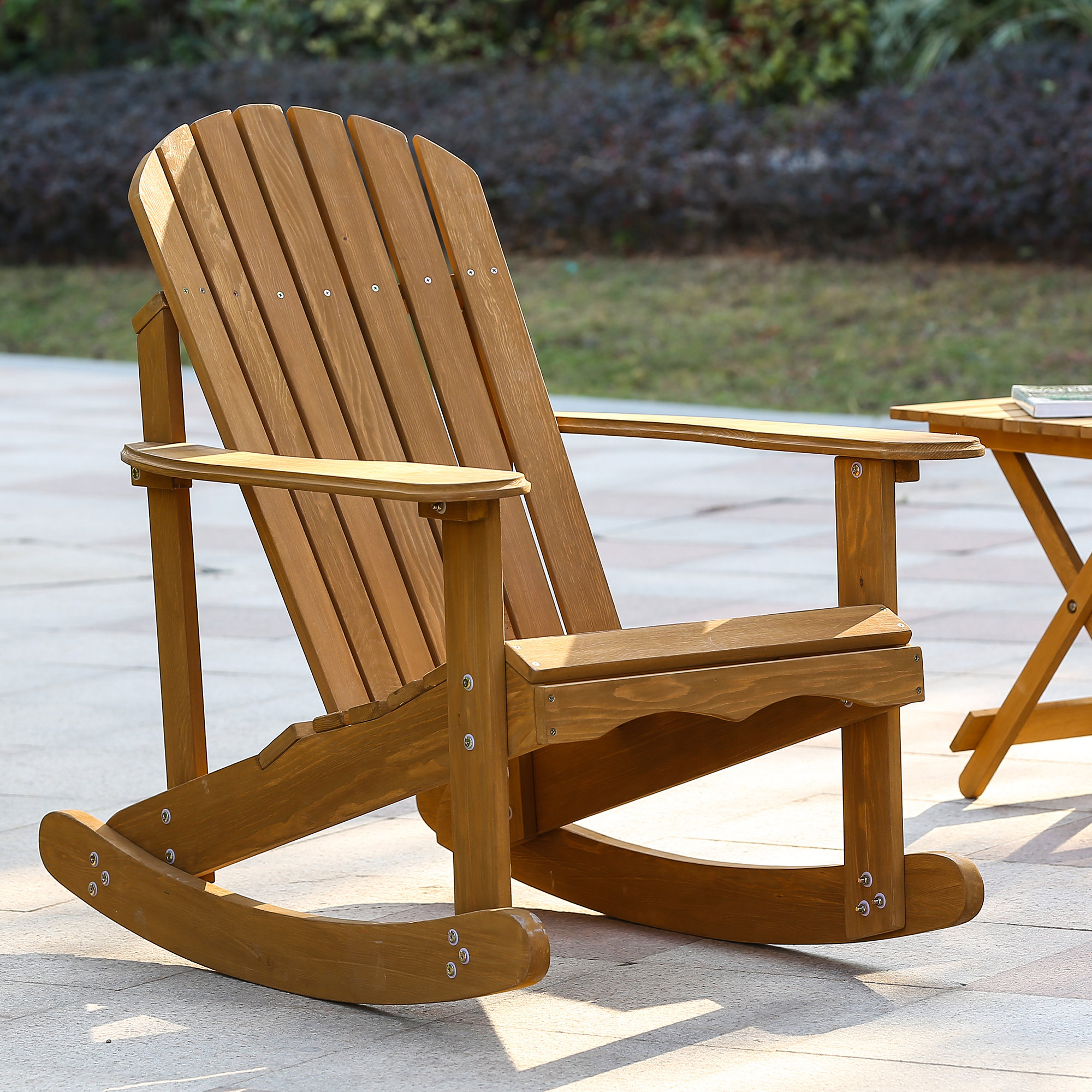 Chartier Solid Wood Rocking Adirondack Chair Regarding Natural Brown Wood Folding Rocking Chairs (#9 of 20)