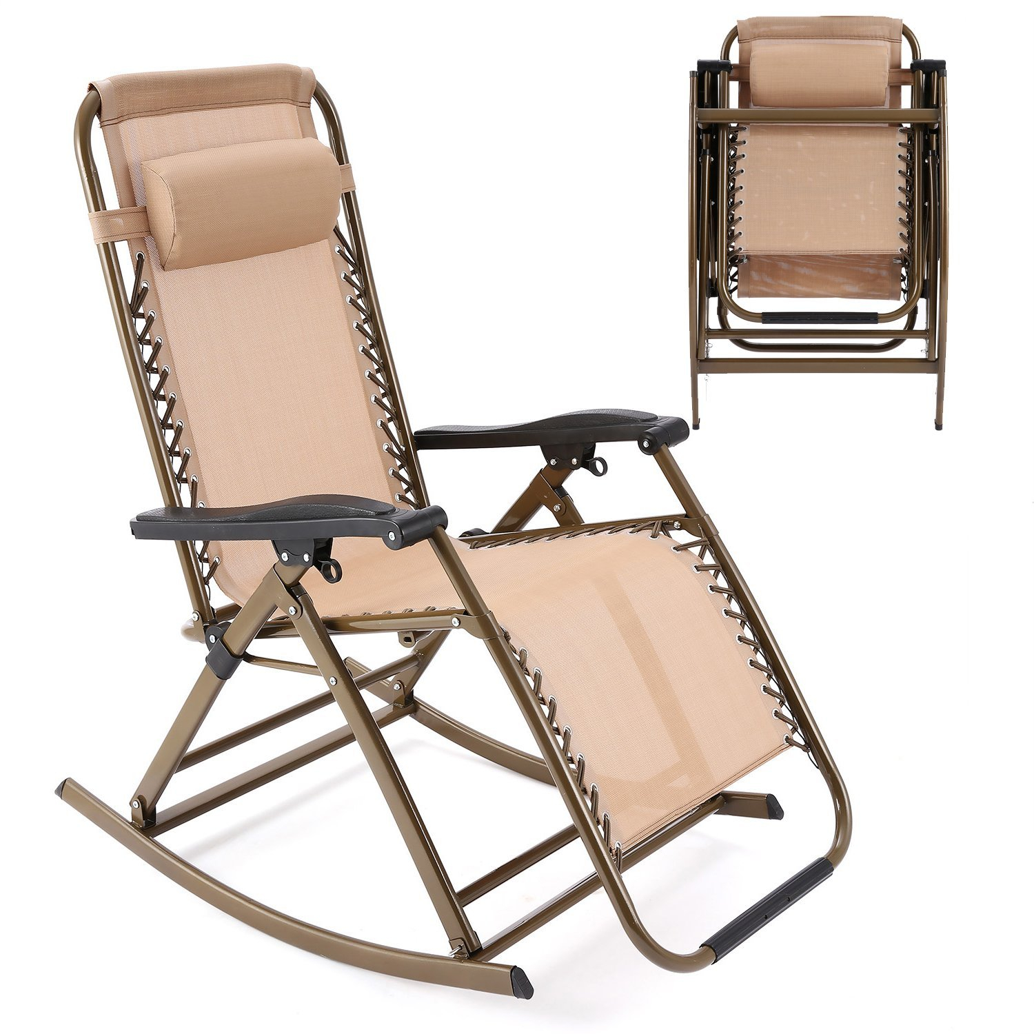 Cheap Rocking Folding Lawn Chair, Find Rocking Folding Lawn Throughout Folding Bentwood Rocking Chairs With Extendable Footrest And Removable Cover (#10 of 20)