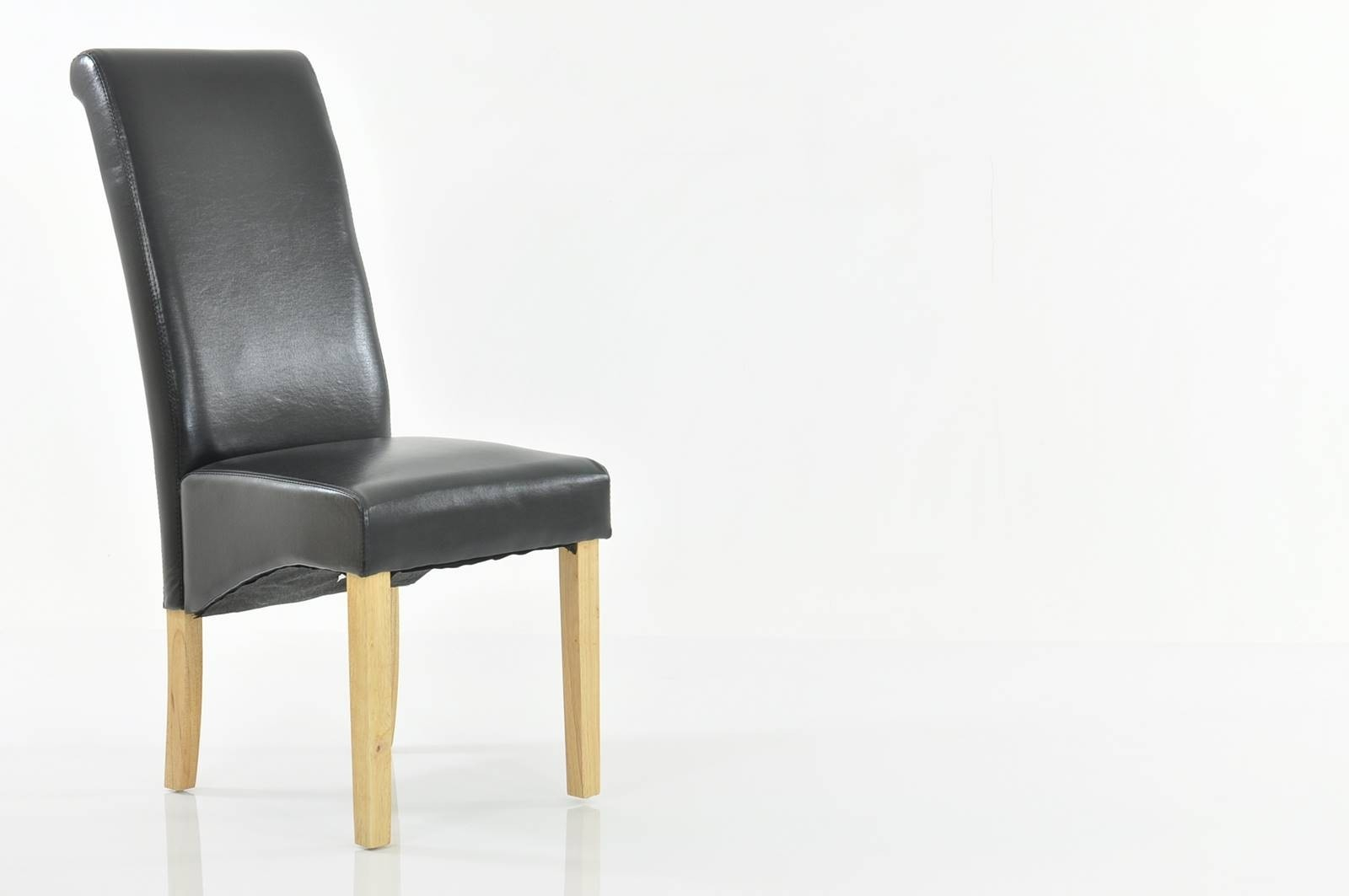 Chelsea Bicast Leather Dining Chair Black Inside Dark Oak Wooden Padded Faux Leather Rocking Chairs (#4 of 20)