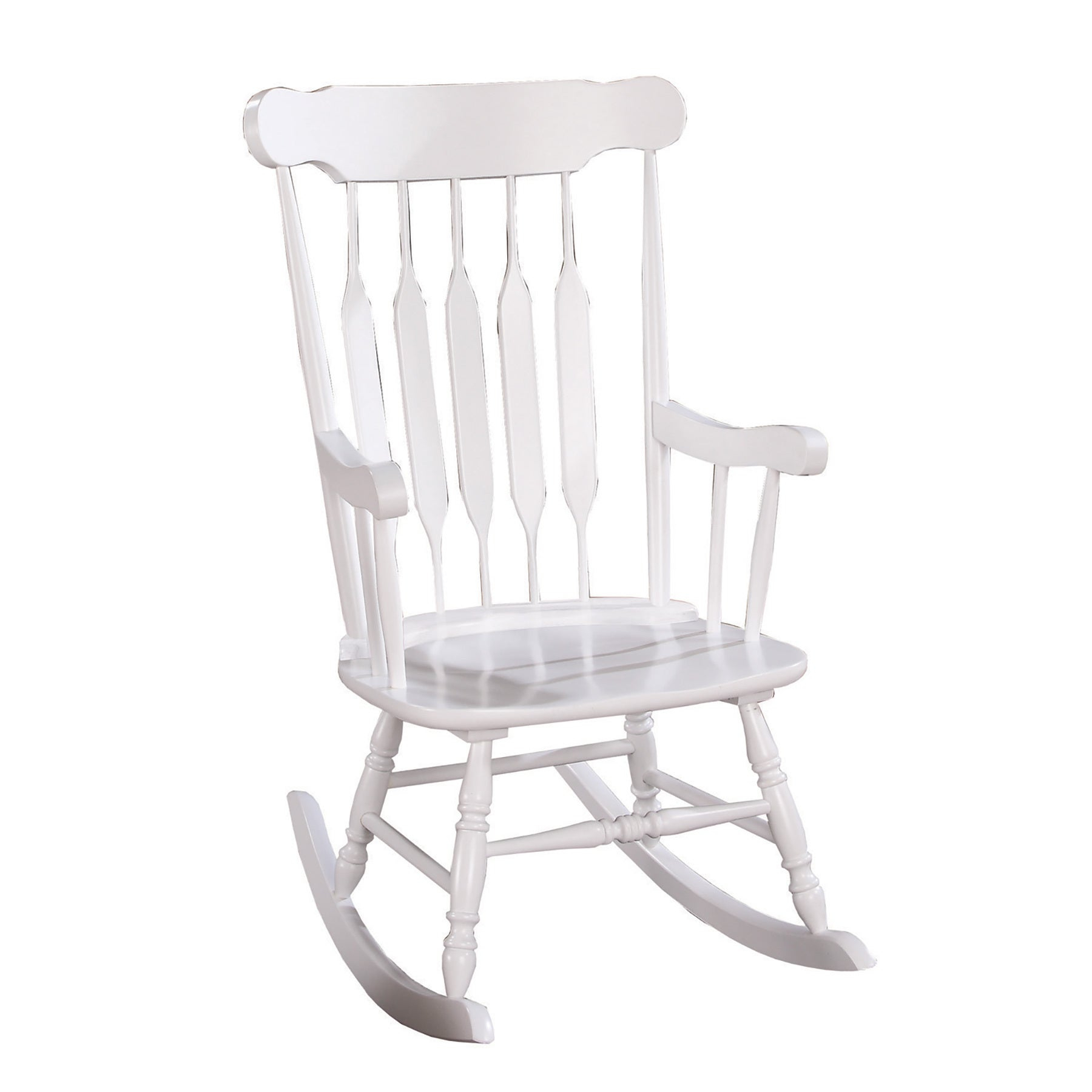 Coaster Company White Wood Rocking Chair Throughout Madrone Windsor Country Style Rocking Chairs (#5 of 20)