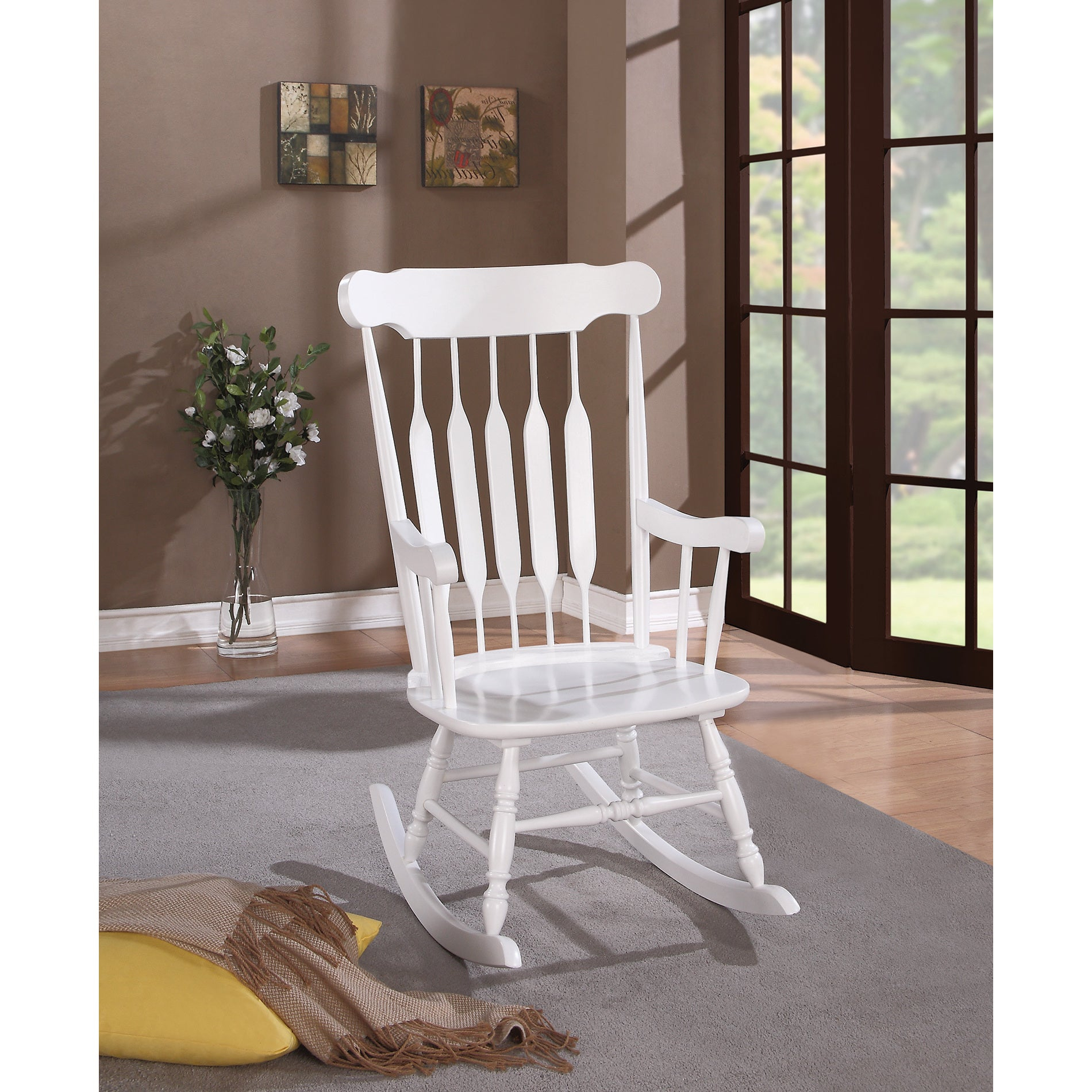 Coaster Company White Wood Rocking Chair Throughout Madrone Windsor Country Style Rocking Chairs (#4 of 20)