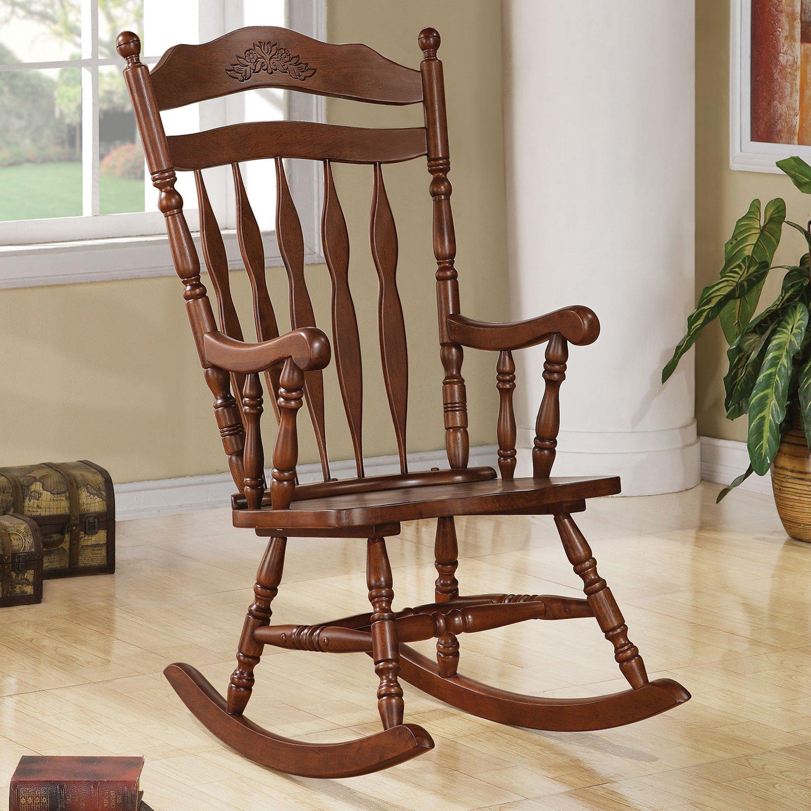 Coaster Milton Indoor Rocking Chair Inside Dark Walnut Brown Wooden Rocking Chairs (#5 of 20)