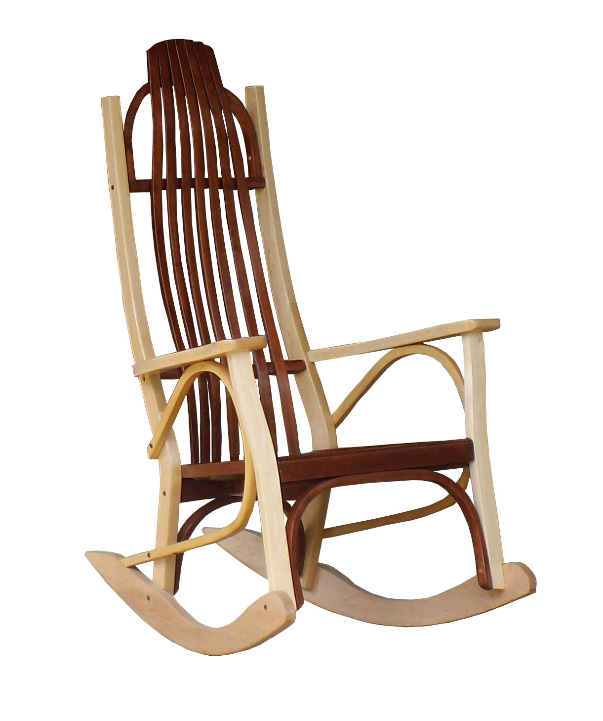 Contemporary Rocking Chair Cherry And Maple Wood Office With Regard To Colonial Cherry Finish Rocking Chairs (#9 of 20)