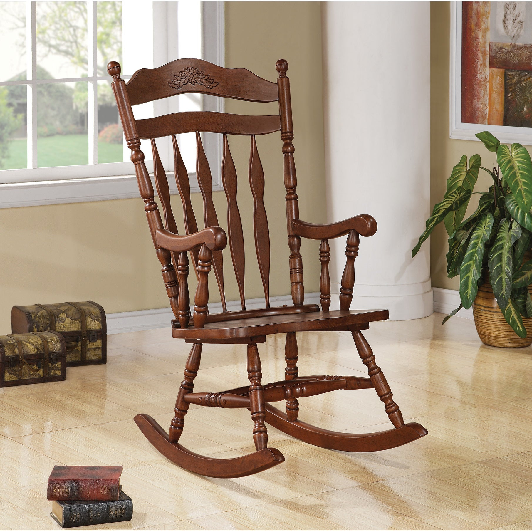 Copper Grove Cranesbill Walnut Wood Rocking Chair For Elegant Tobacco Brown Wooden Rocking Chairs (#6 of 20)