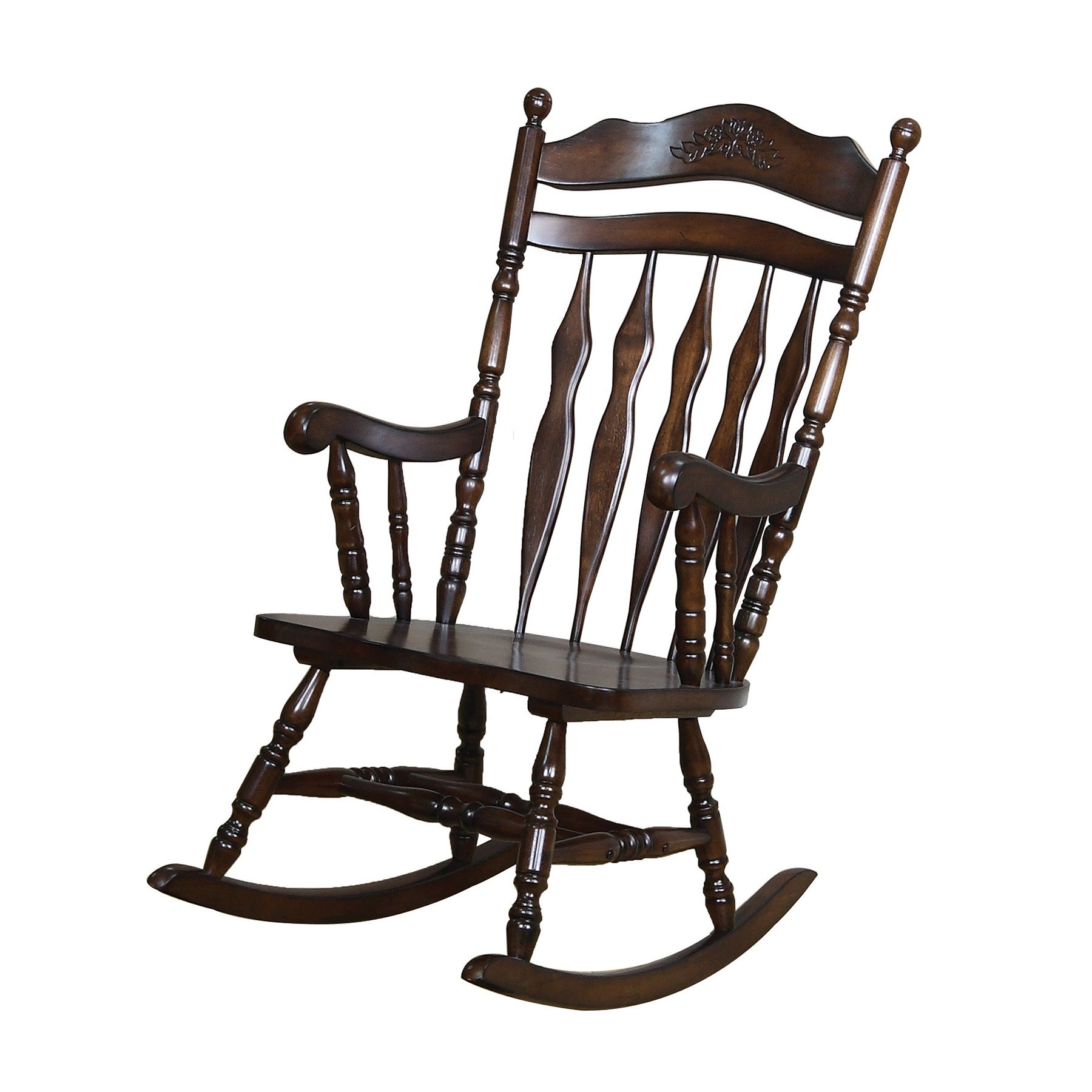 Copper Grove Cranesbill Walnut Wood Rocking Chair Throughout Madrone Windsor Country Style Rocking Chairs (#8 of 20)