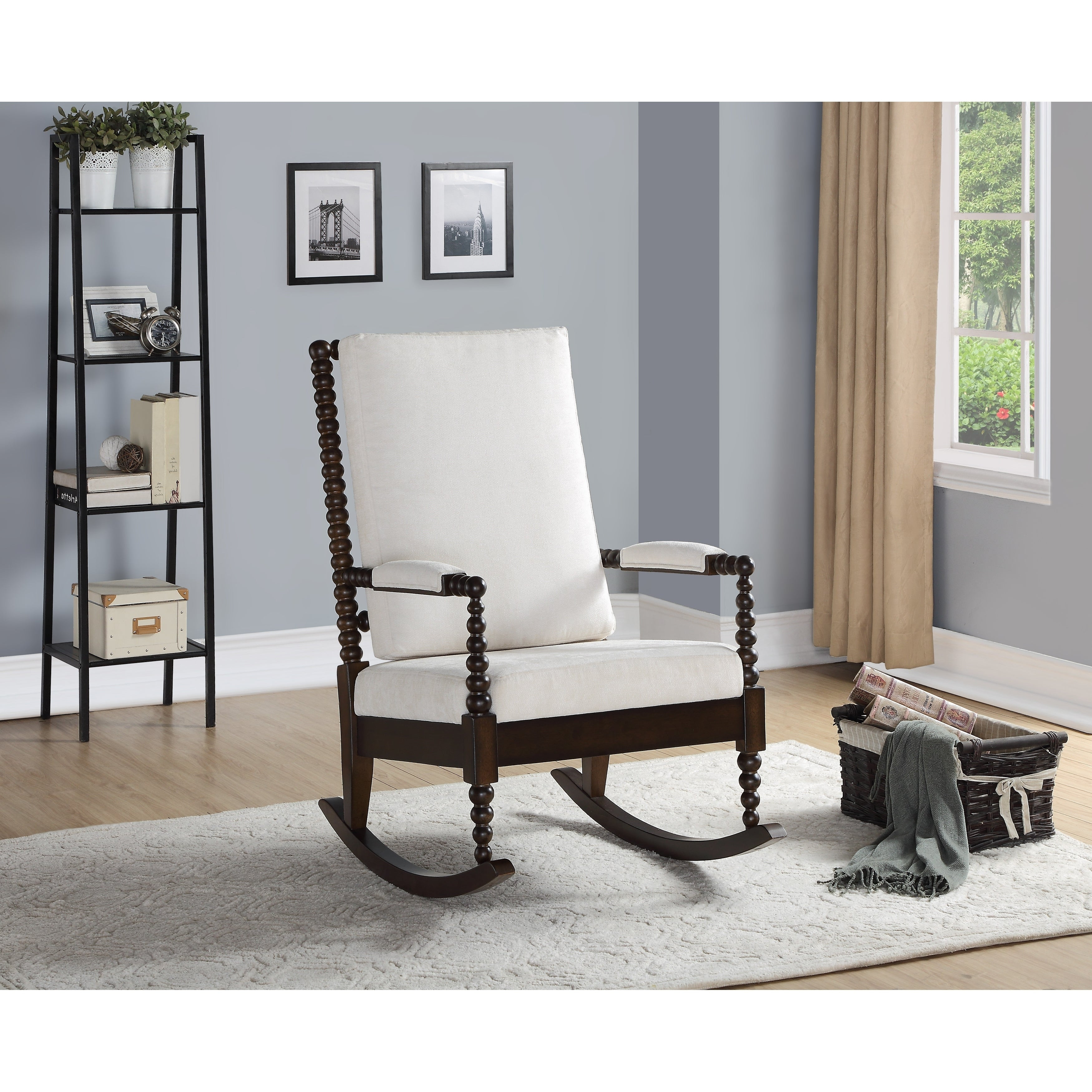 Copper Grove Drnis Rocking Chair With Cream Fabric And Walnut Wood Frame Within Antique Transitional Warm Oak Rocking Chairs (View 14 of 20)
