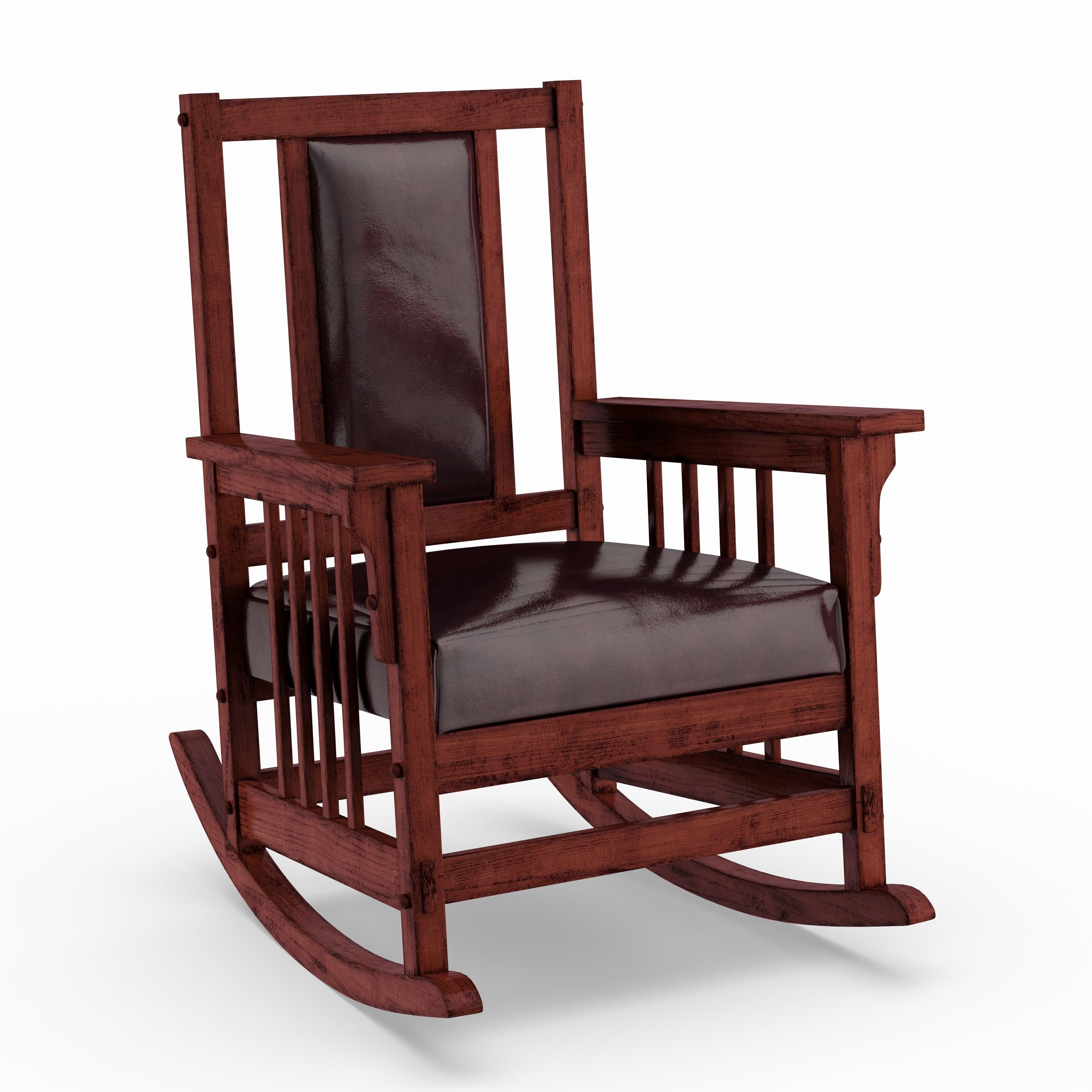 Copper Grove Mesa Verde Dark Oak Wooden Padded Faux Leather Rocking Chair Inside Dark Oak Wooden Padded Faux Leather Rocking Chairs (#5 of 20)
