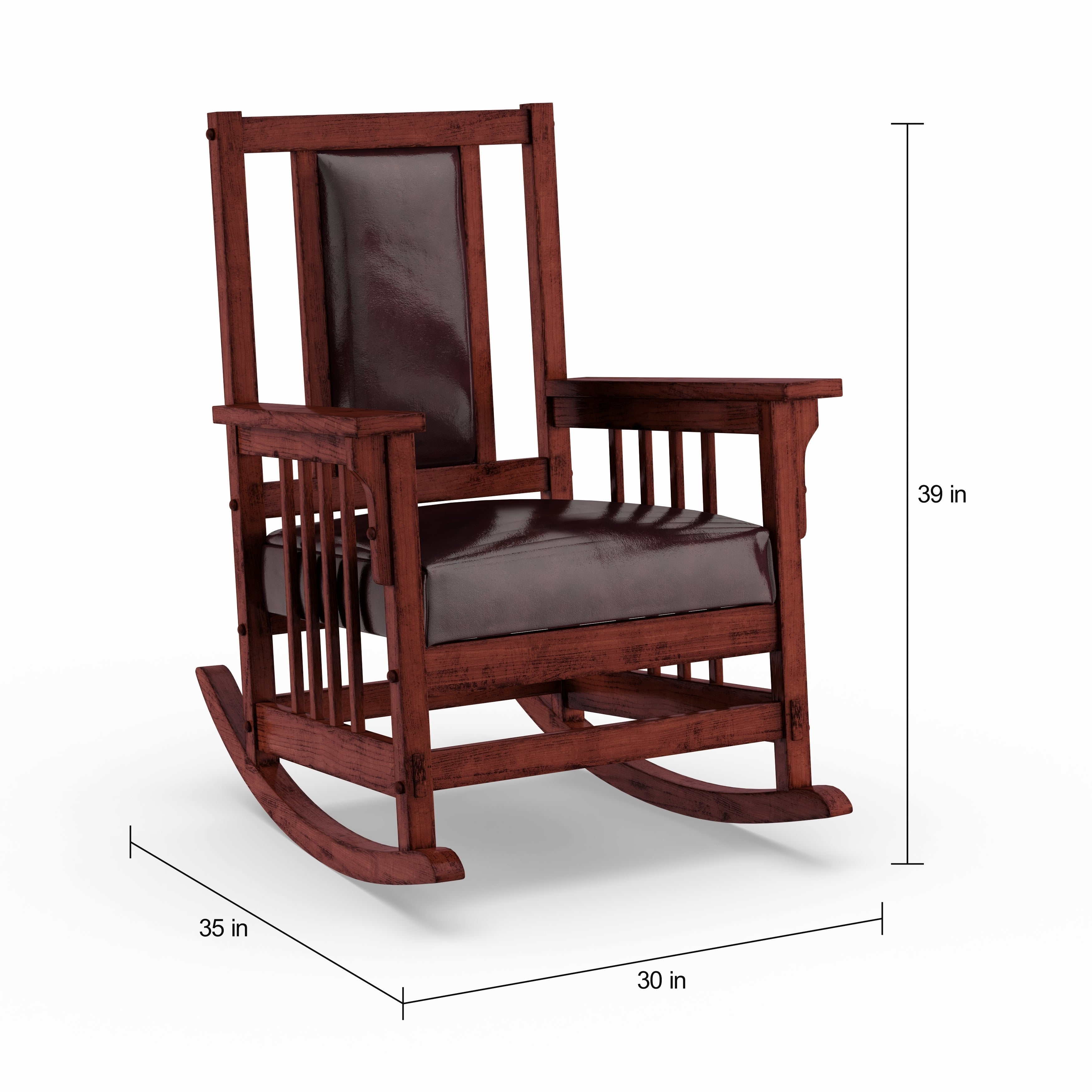 Copper Grove Mesa Verde Dark Oak Wooden Padded Faux Leather Rocking Chair Within Mission Design Wood Rocking Chairs With Brown Leather Seat (#7 of 20)