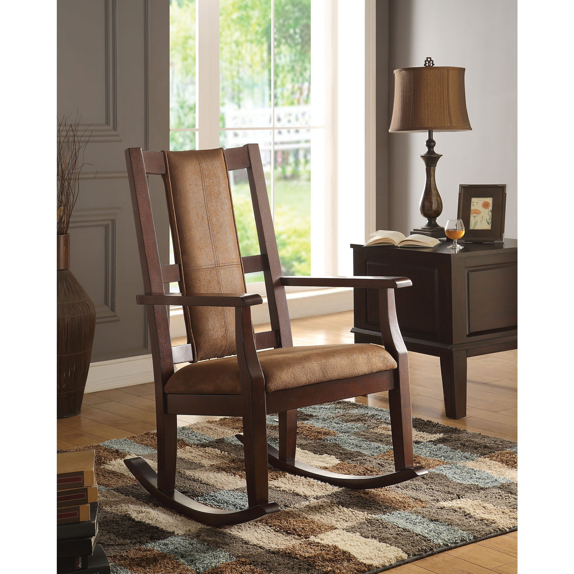 Copper Grove Sanvitalia Espresso Brown Rocking Chair With Regard To Poppy Mission Espresso Rocking Chairs (#3 of 20)