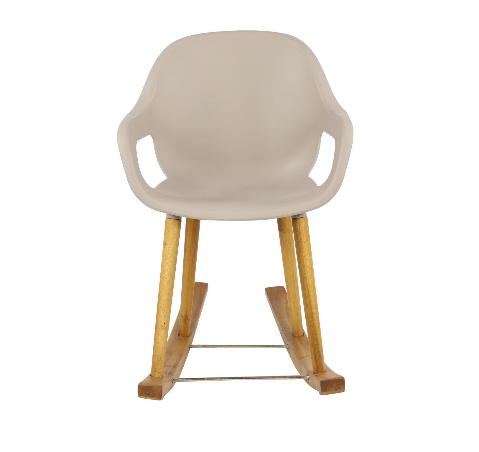 "Corrigan Studio 23"" X 34"" Mid Century Modern Grey Plastic With Regard To Mid Century Birch Rocking Chairs (#4 of 20)"