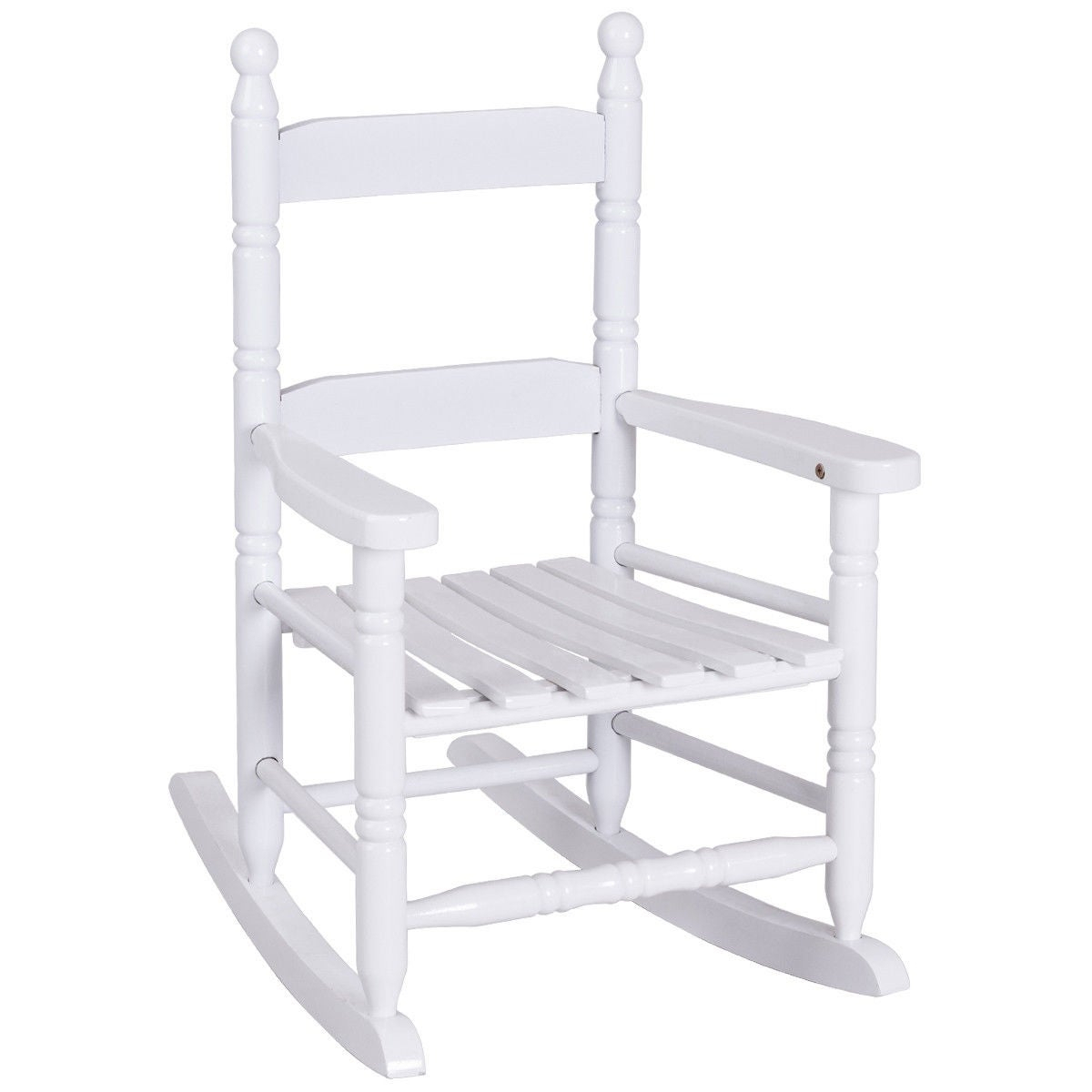Costway Classic White Wooden Children Kids Rocking Chair Slat Back Furniture Pertaining To Tobacco Brown Kids Rocking Chairs (View 20 of 20)