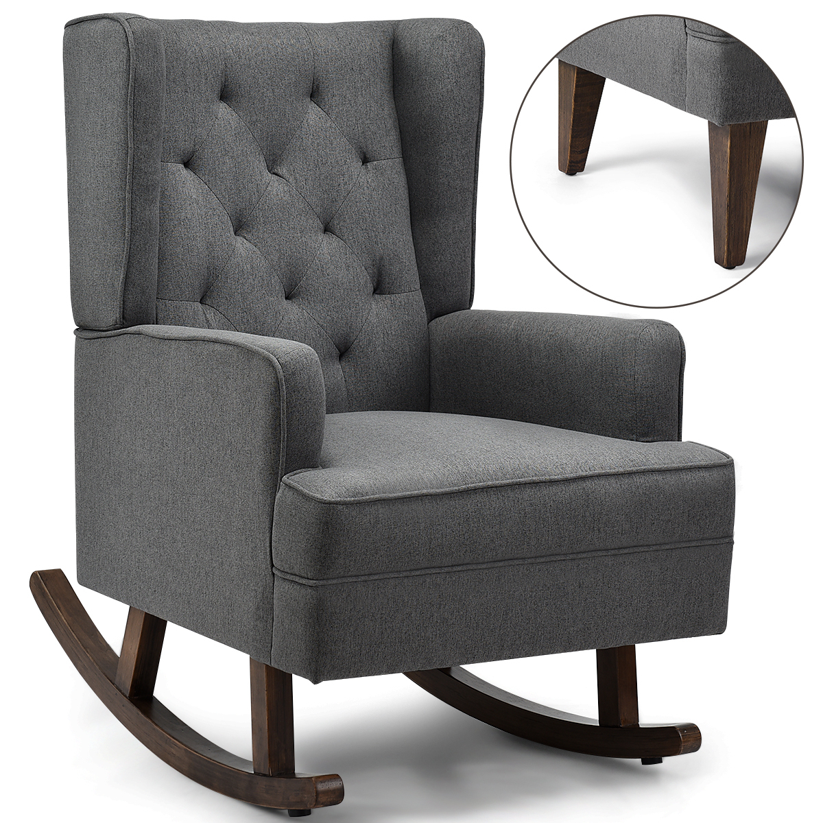 Costway: Costway 2 In 1 Tufted Rocking Chair Wingback Lounge Leisure  Armchair Fabric Rocker Grey | Rakuten Regarding Rocking Chairs & Lounge Chairs In Grey (View 2 of 20)
