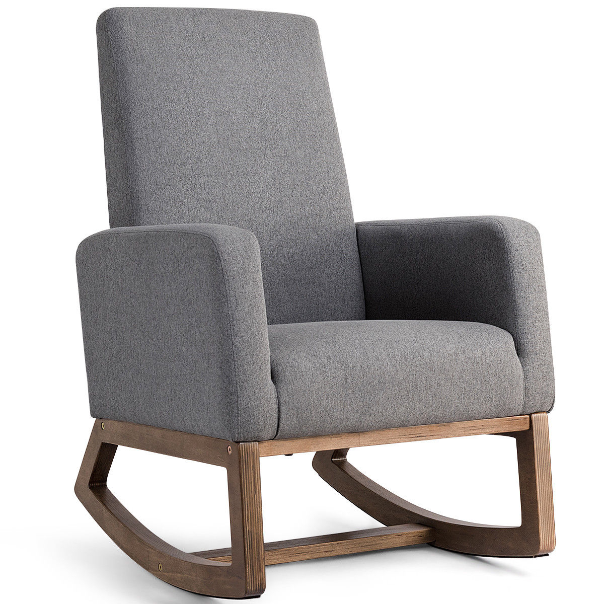 Costway: Costway Mid Century Retro Modern Fabric Upholstered Rocking Chair  Relax Rocker Gray | Rakuten For Mid Century Fabric Rocking Chairs (View 8 of 20)