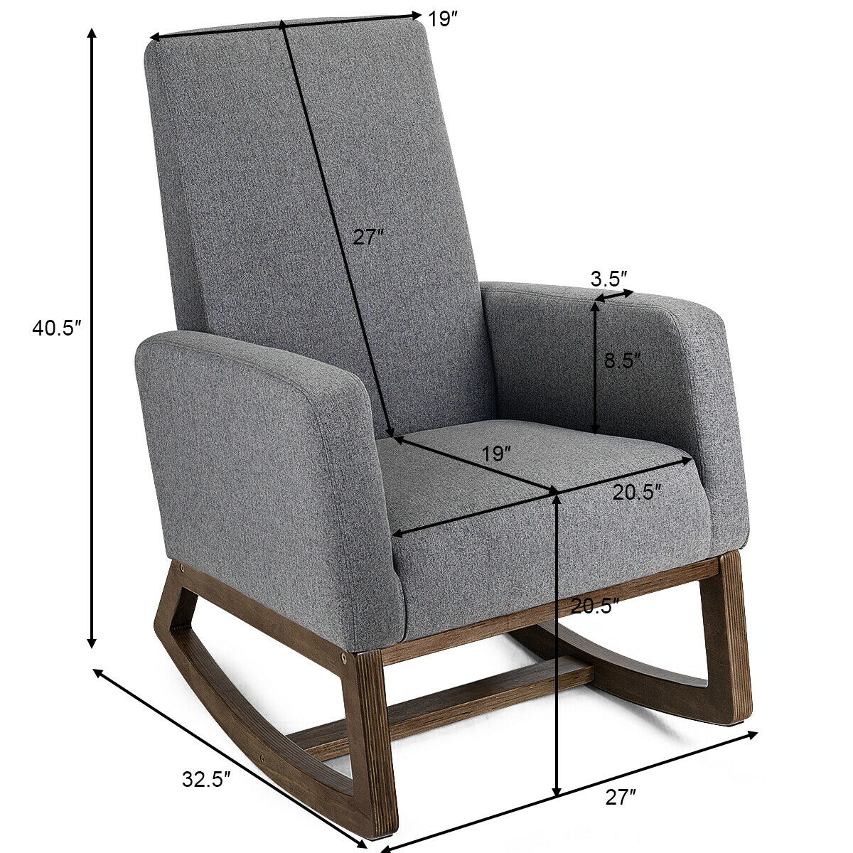 Costway: Costway Mid Century Retro Modern Fabric Upholstered Rocking Chair Relax Rocker Gray | Rakuten Throughout Mid Century Modern Fabric Rocking Chairs (View 18 of 20)