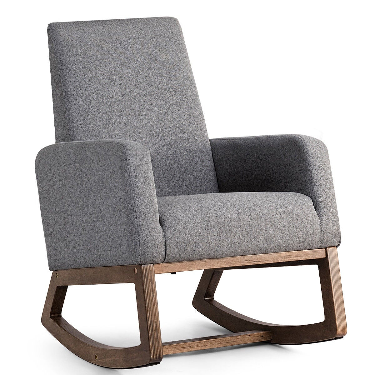 Costway Mid Century Retro Modern Fabric Upholstered Rocking Chair Relax Rocker Gray Intended For Mid Century Modern Fabric Rocking Chairs (View 3 of 20)