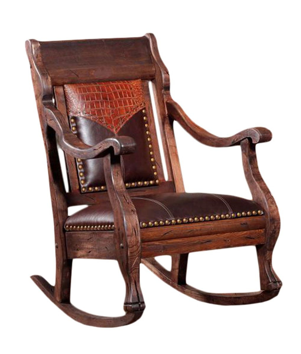 Cowhide And Leather Rocker – Rusticartistry Regarding Rosewood Traditional Dark Oak Rocking Accent Chairs (View 15 of 20)