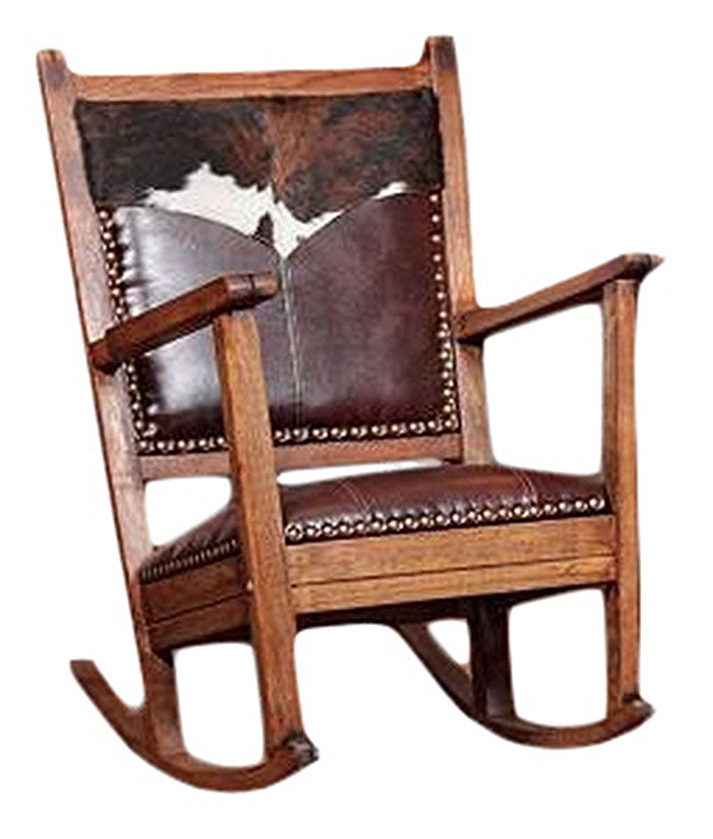 Cowhide And Leather Rocking Chair – Rusticartistry Pertaining To Mission Design Wood Rocking Chairs With Brown Leather Seat (#8 of 20)