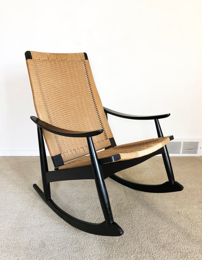 Inspiration about Danish Modern Rocker Woven Cord Rope Rocking Chair For Harvey Mid Century Modern Fabric Rocking Chairs (#18 of 20)