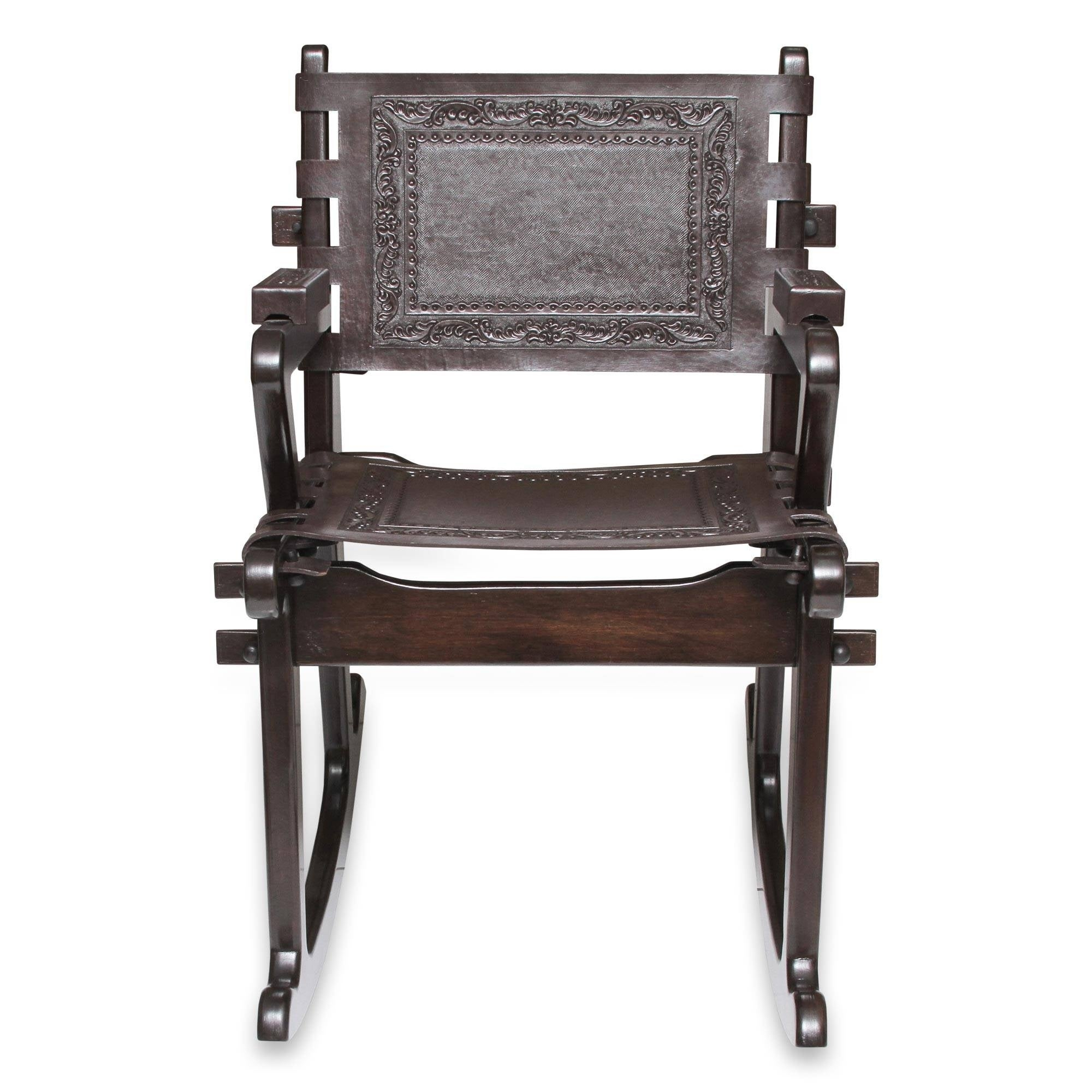 Inspiration about Dark Colonial Country Rich Brown Handmade Leather And Mohena Wood Rocking  Chair (Peru) With Regard To Wood And Leather Chavin Deities Rocking Chairs (#15 of 20)