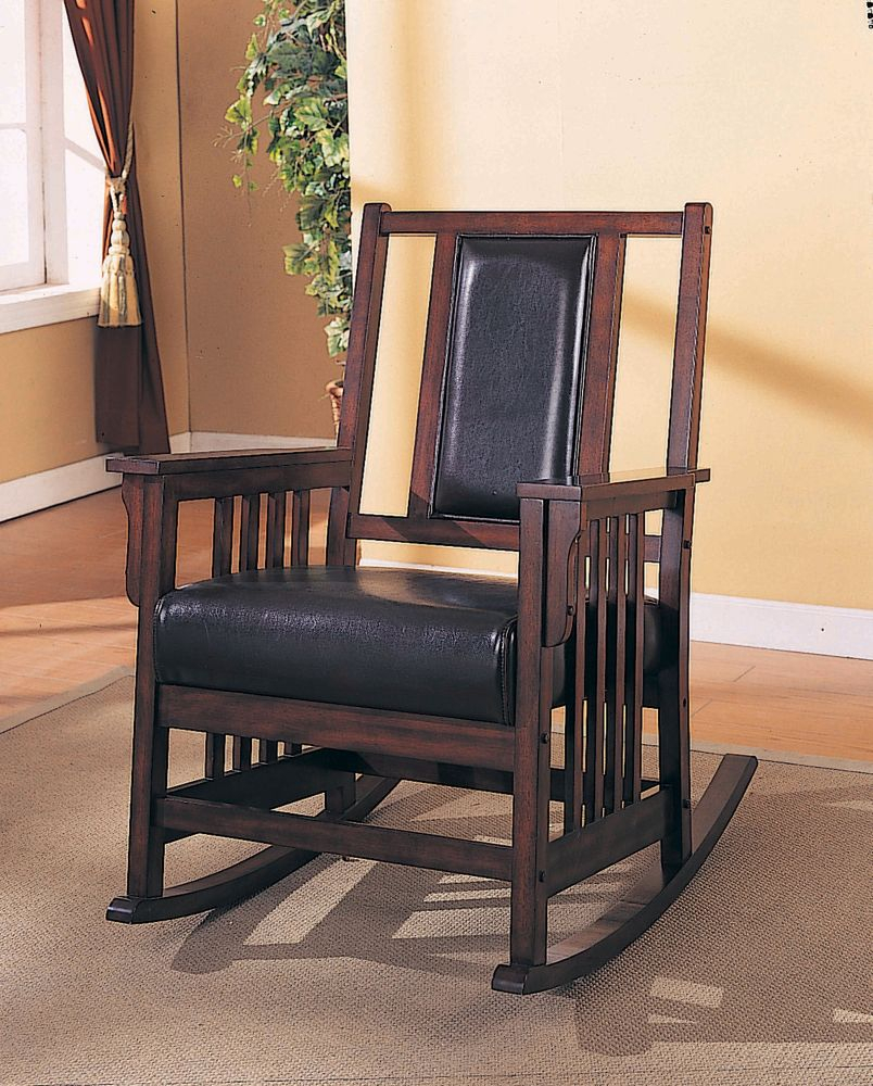 Dark Oak Rocker With Leather Seat And Back Throughout Luxury Mission Style Rocking Chairs (#10 of 20)