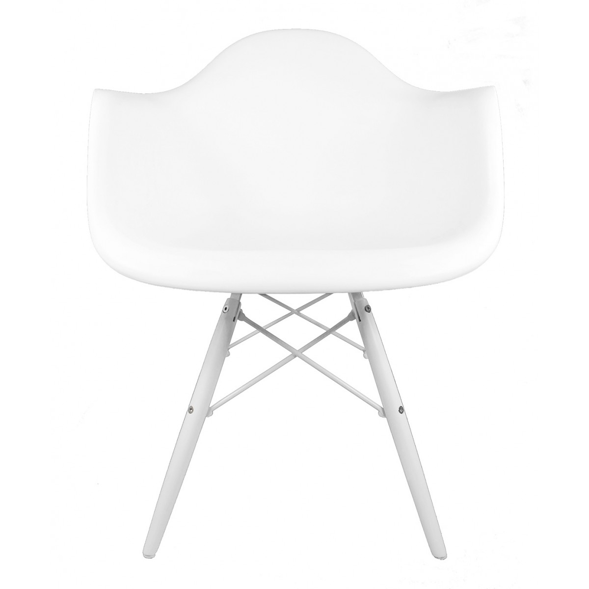 Daw White Plastic Accent Arm Chair With White Wood Eiffel Legs Within Plastic Arm Chairs With Rocking Legs (View 15 of 20)