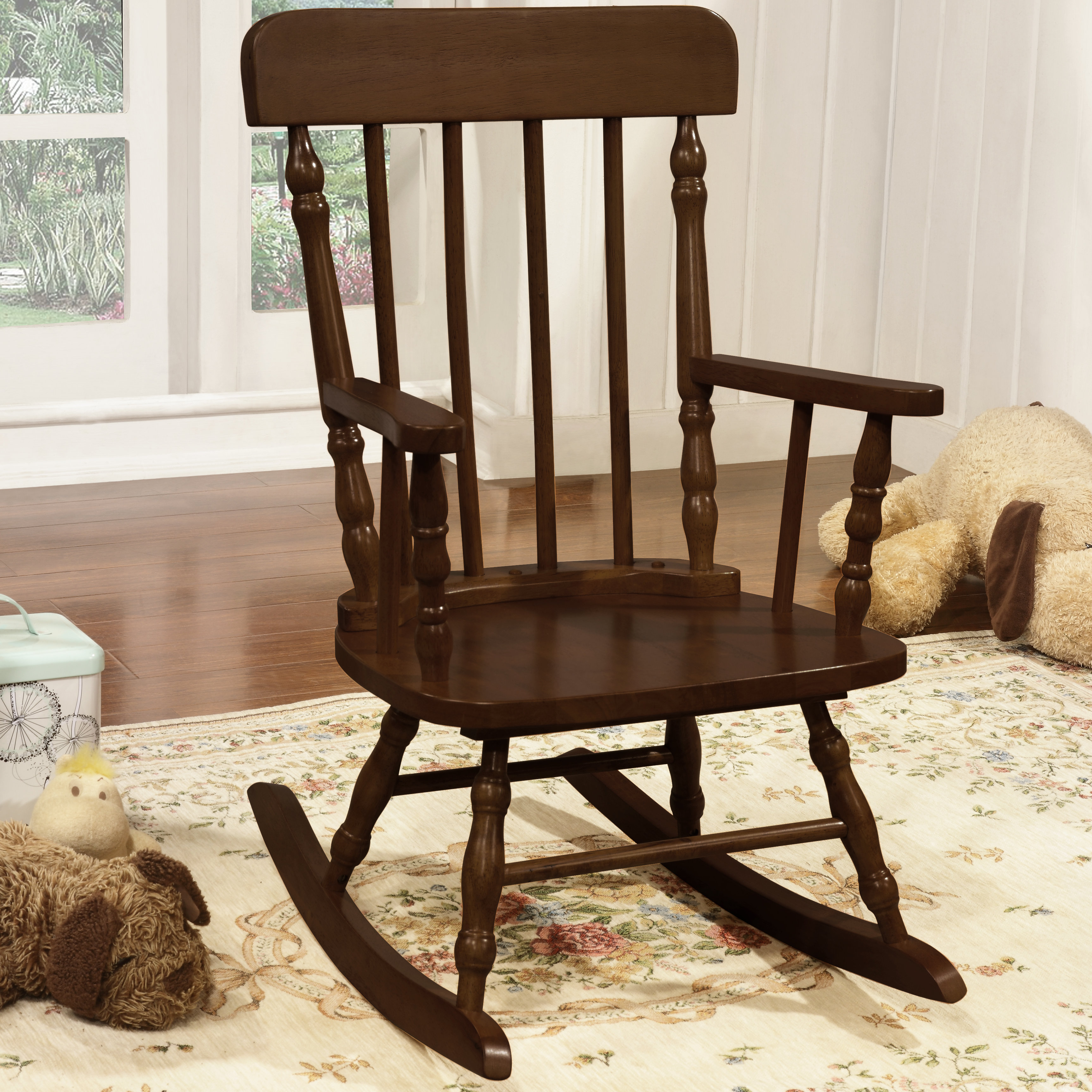 Inspiration about Della Kid's Solid Pine Wood Rocking Chair Pertaining To Brown Wood Youth Rocking Chairs (#11 of 20)