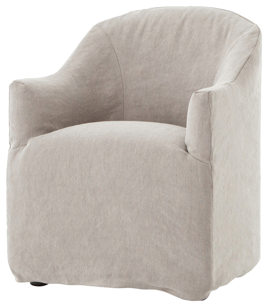 Inspiration about Desiree Modern French Country Beige Twill Slipcover Dining Arm Chair In Twill Fabric Beige Rocking Chairs With Eiffel Legs (#19 of 20)