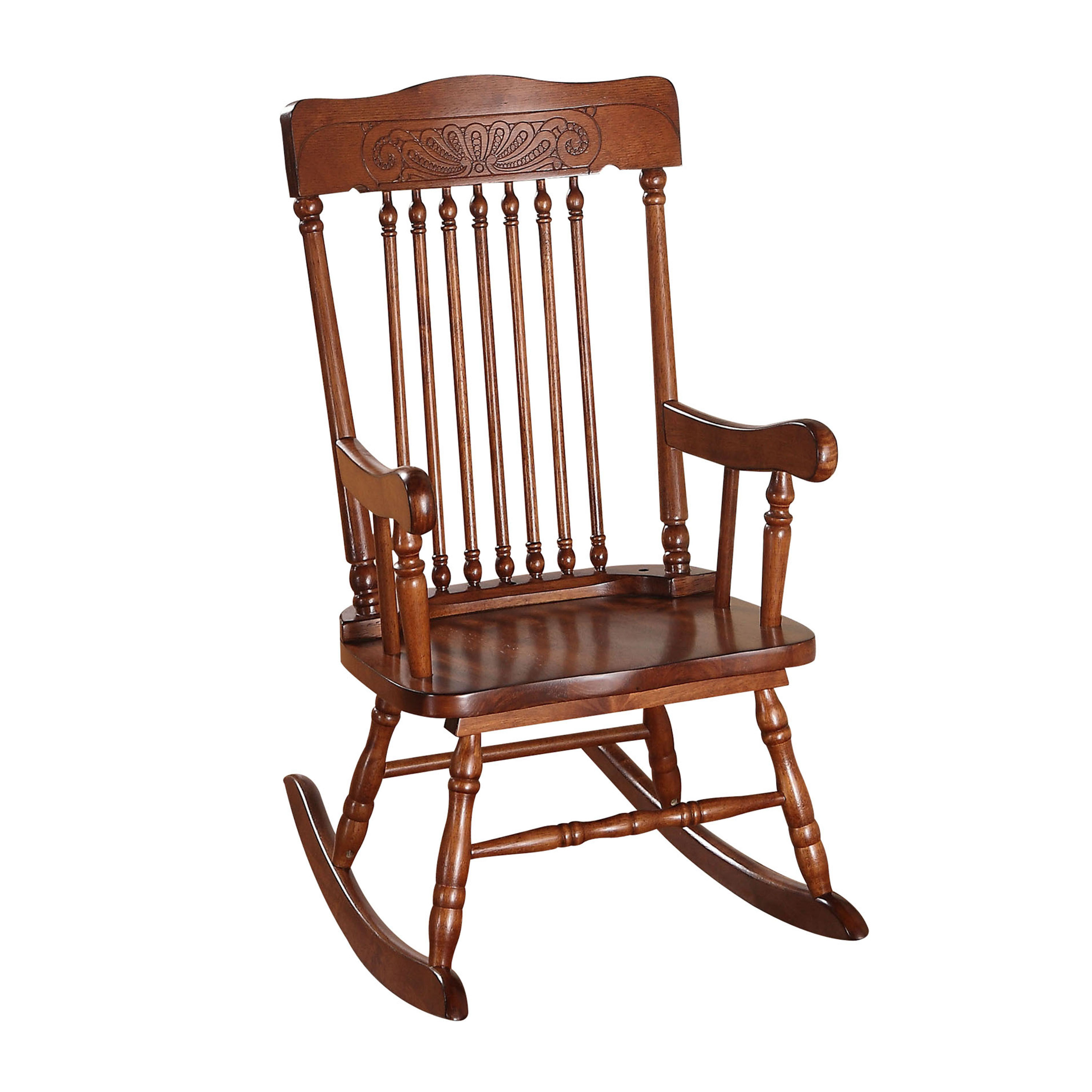 Inspiration about Details About Acme Aaro Youth Rocking Chair, Tobacco Intended For Brown Wood Youth Rocking Chairs (#1 of 20)
