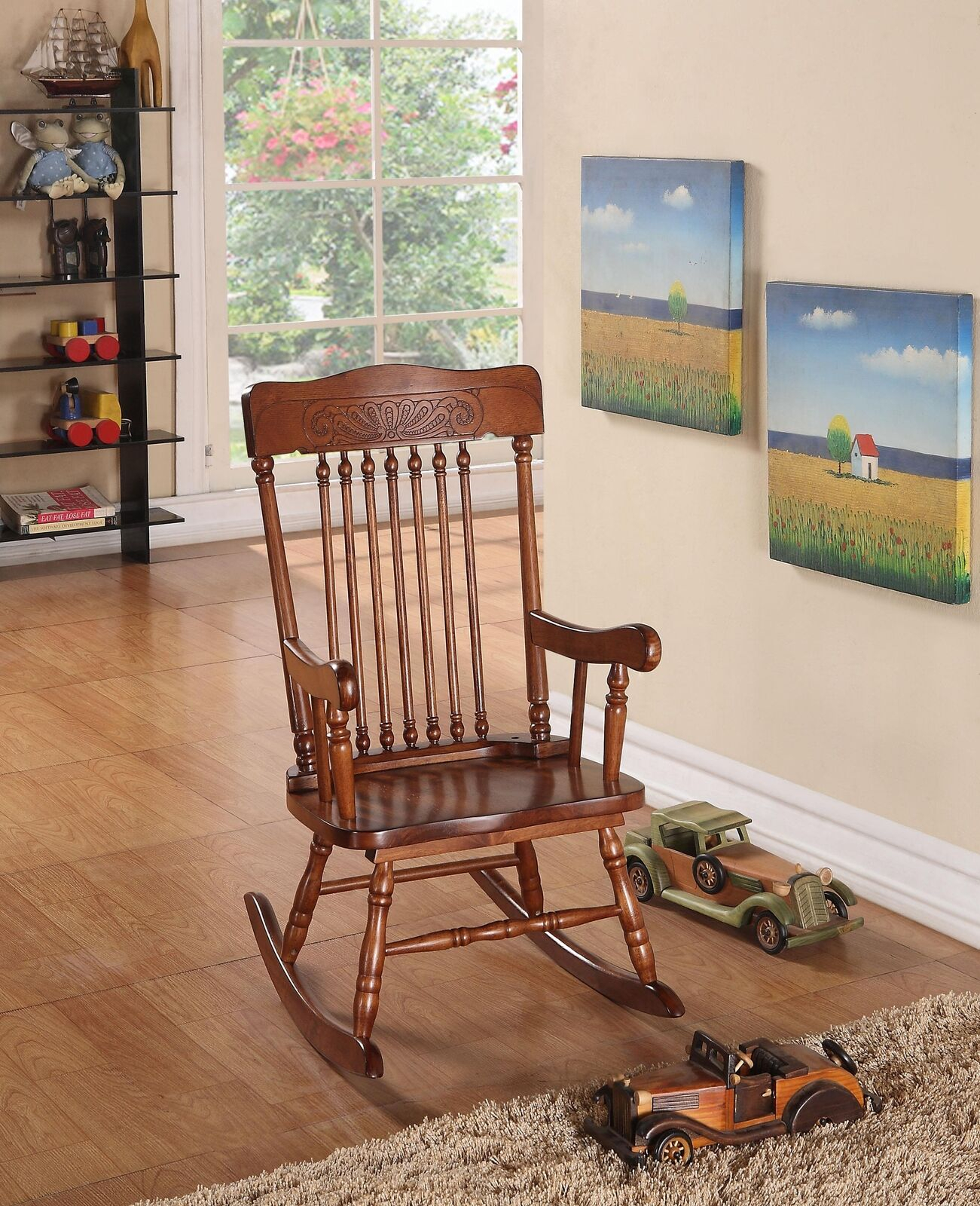 Details About Acme Kloris Youth Rocking Chair, Tobacco Youth/traditional'  Tobacco Intended For Brown Wood Youth Rocking Chairs (#10 of 20)