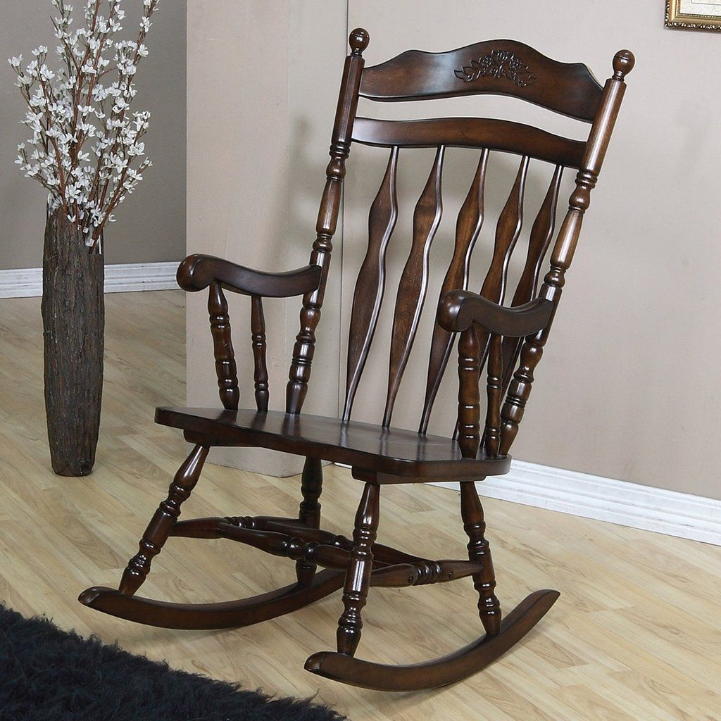Inspiration about Details About Country Style Wood Rocking Chair In A Walnut Finish Coaster 600187 Intended For Walnut Wood Rocking Chairs (#11 of 20)