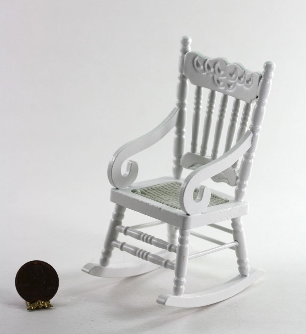 Inspiration about Details About Dollhouse Miniature White Wood Rocking Chair Inside White Wood Rocking Chairs (#18 of 20)
