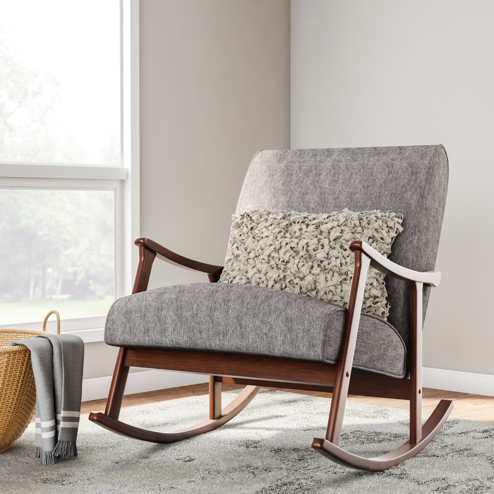 Inspiration about Details About Gray Fabric Mid Century Mod Rocking Chair Retro Wooden Rocker, Firm Foam Cushion For Mid Century Modern Fabric Rocking Chairs (#8 of 20)
